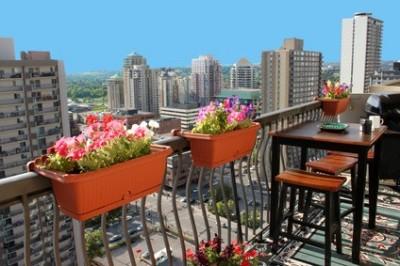 Balkon schön gestalten - Blumen in Balkonkasten.